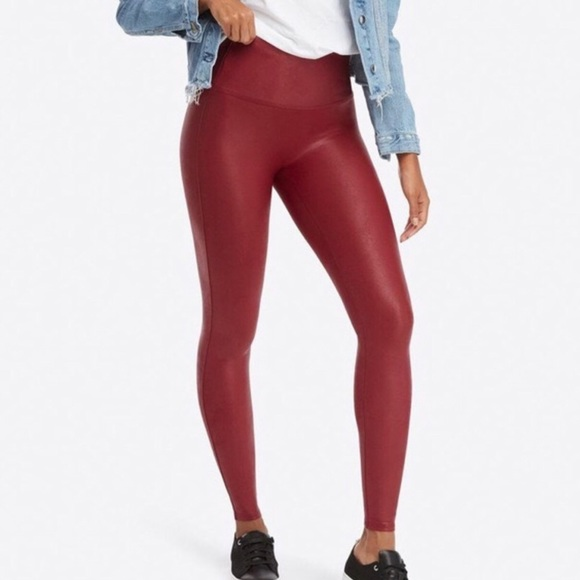 SPANX Pants - Spanx Red Faux Leather Leggings